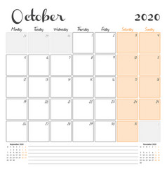 October 2020 monthly calendar planner printable vector