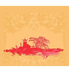 old paper with Japanese temple on abstract Asian vector image