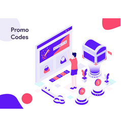 Online promo codes isometric modern flat design vector