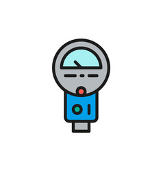 parking meter flat color line icon isolated on vector image