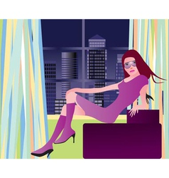 Party girl in london vector