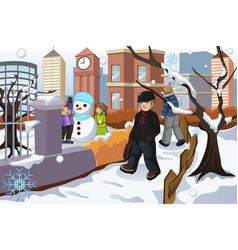 People walking in the park during winter vector