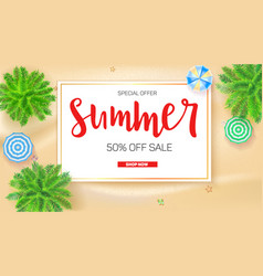 poster of summer sale action get up to fifty vector image