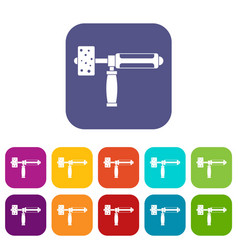precision grinding machine icons set flat vector image