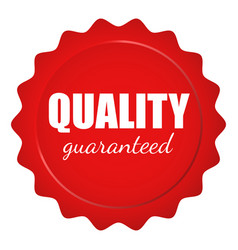 Red wax seal with quality guaranteed text vector