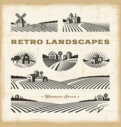 Retro landscapes set vector