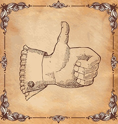 Retro styled thumb up symbol on yellow textured vector image