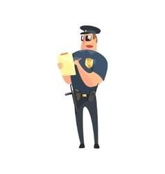 Road Policeman In American Cop Uniform With vector