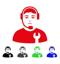 Sad call center serviceman icon vector