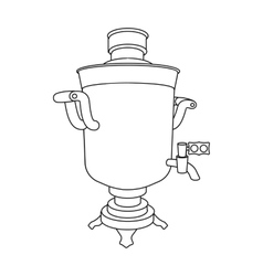 Samovar icon in outline style isolated on white vector image