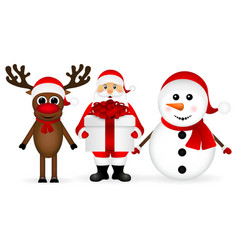 Santa Claus with snowman and reindeer cartoon vector