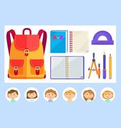 Satchel and school supplies for students lessons vector