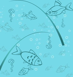 Seamless background of fishing vector image