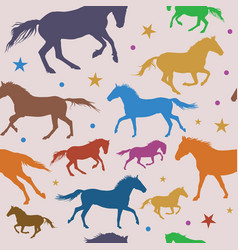 Seamless pattern with colorful running horses on vector