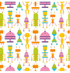 seamless pattern with cute robots on white vector image