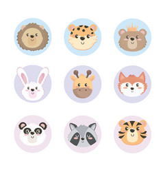 set cute wild animals heads vector image