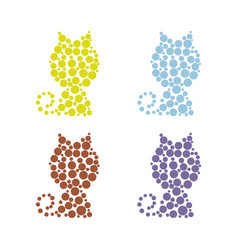 set of cats filled with circles on a white vector image