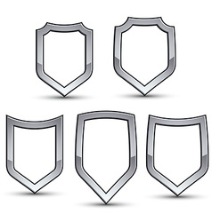 Set of heraldic emblem with silver outline vector