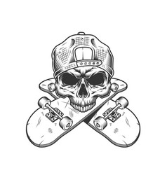 skateboarder skull without jaw vector image