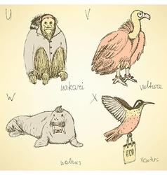 Sketch fancy animals alphabet in vintage style vector