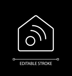 Smart home app white linear icon for dark theme vector