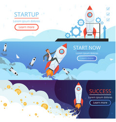 startup banners new idea or creative business vector image