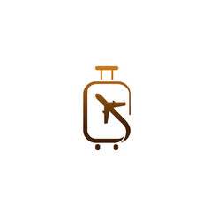 Suitcase travel airplane creative air design logo vector