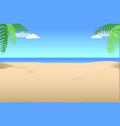 summer background with palm leaves in the corner vector image