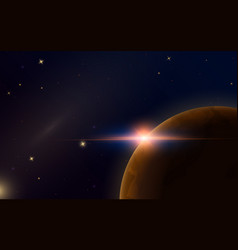 Sunrise in space red planet mars astronomical vector