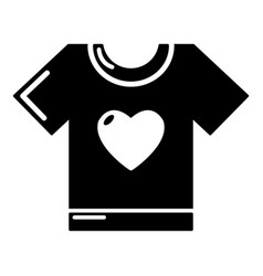 t-shirt heart icon simple black style vector image