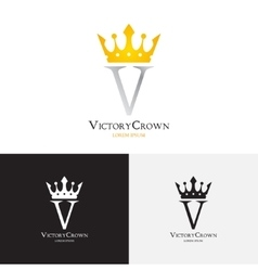 template of victory crown logo vector image