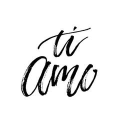 Ti amo i love you text calligraphy vector