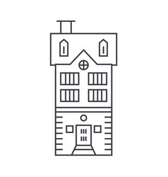 townhouse village thin line icon concept vector image