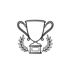 trophy cup with laurel wreath hand drawn outline vector image