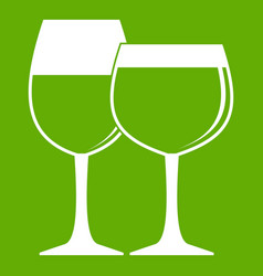 two glasses of wine icon green vector image