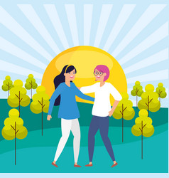 two women friendly in park vector image