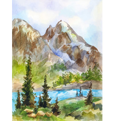 Watercolor landscape mountains and river vector