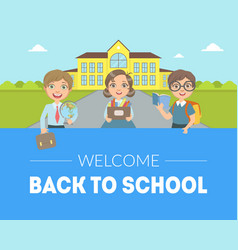 Welcome back to school banner template cute kids vector