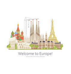 welcome to europe travel vector image