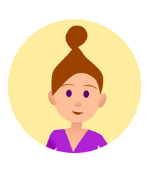 woman with hair in beam in round button avatar vector image