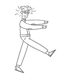 Young guy walks like a zombie cartoon vector