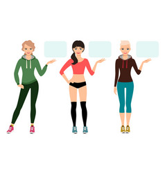 Young woman in sportswear presentation vector