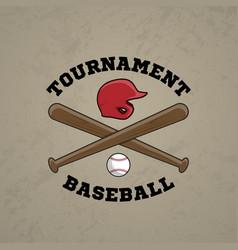 baseball logo emblem of baseball tournament vector image
