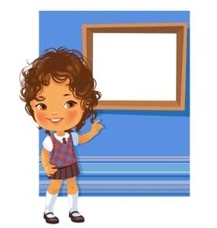Cute little girl wearing school uniform vector