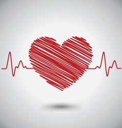 Heartbeat With Heart Shape and EKG Medical Concept vector image
