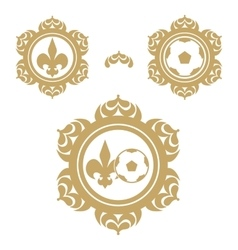 Mandala or emblem with a ball and heraldic a lily vector image vector image