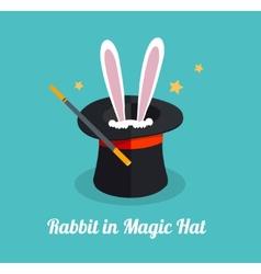 rabbit in magic hat vector image vector image