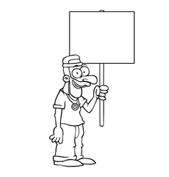 Black and white happy hippie with protest sign vector image