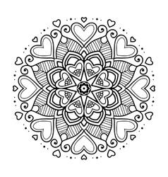 Black floral mandala with hearts vector image