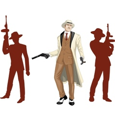 Caucasian mafioso godfather with crew silhouettes vector image